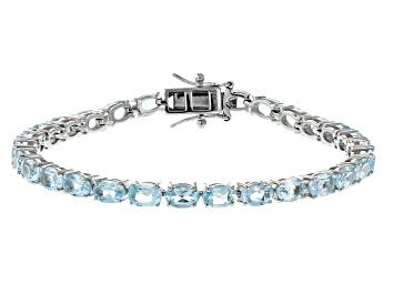 Picture of Blue Topaz Rhodium Over Silver Tennis Bracelet 12.67ctw