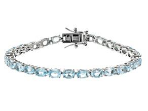 Blue Topaz Rhodium Over Silver Tennis Bracelet 12.67ctw