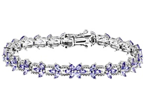 Blue Tanzanite Rhodium Over Sterling Silver Bracelet  5.30ctw