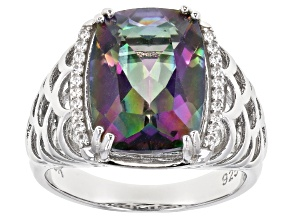 Multi-Color Quartz Rhodium Over Silver Ring 6.11ctw