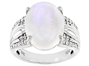 White Rainbow Moonstone Rhodium Over Silver Ring .26ctw