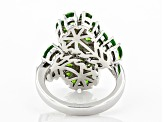 Green Russian Chrome Diopside Rhodium Over Silver Flower Bypass Ring 2.97ctw
