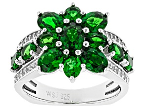 Green chrome diopside rhodium over sterling silver ring 3.20ctw