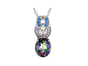 Green Mystic Fire(R) Topaz Rhodium Over Silver Pendant With Chain 4.72ctw