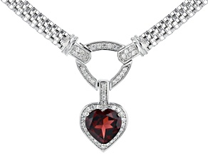 Red Garnet Rhodium Over Silver Necklace 3.71ctw