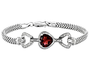 Red Garnet Rhodium Over Silver Bracelet 3.80ctw