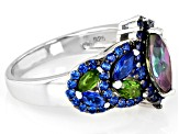 Mystic Fire(R) Green Topaz Rhodium Over Silver Ring 2.32ctw