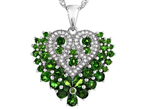 Green chrome diopside rhodium over silver pendant with chain 2.23ctw
