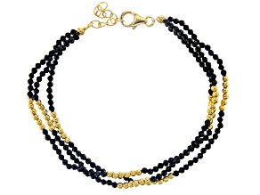 Black Spinel 18k Gold Over Silver 3-Strand Bracelet