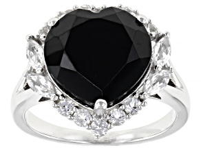 Black Spinel Rhodium Over Silver Ring 7.02ctw