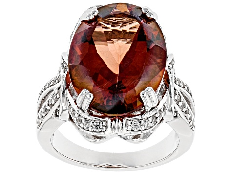 Red labradorite rhodium over silver ring 9.48ctw