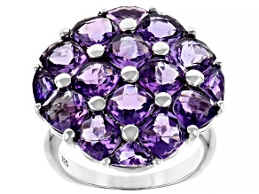 Purple amethyst rhodium over sterling silver ring 6.77ctw