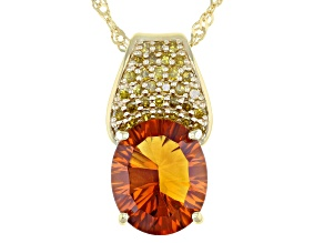 Orange Madiera Citrine 18k Yellow gold Over Silver Pendant With Chain 3.87ctw