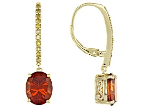 Orange Madiera Citrine 18k Yellow gold Over Sterling Silver Earrings 4.14ctw
