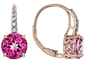Pink topaz 18k rose gold over sterling silver earrings 4.18ctw