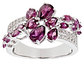 Purple Raspberry Color Rhodolite Rhodium Over Silver Ring 2.63ctw
