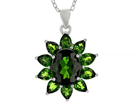 Green chrome diopside rhodium over sterling silver pendant with chain 3.15ctw