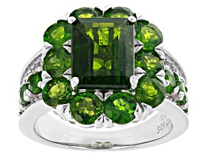 Green chrome diopside rhodium over sterling silver ring 5.95ctw