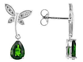 Green chrome diopside rhodium over sterling silver butterfly earrings 2.13ctw