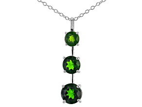Green graduated chrome diopside rhodium over sterling silver pendant with chain 2.39ctw