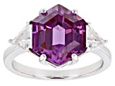 Purple Lab Created Color Change Sapphire Rhodium Over Silver Ring 5.64ctw