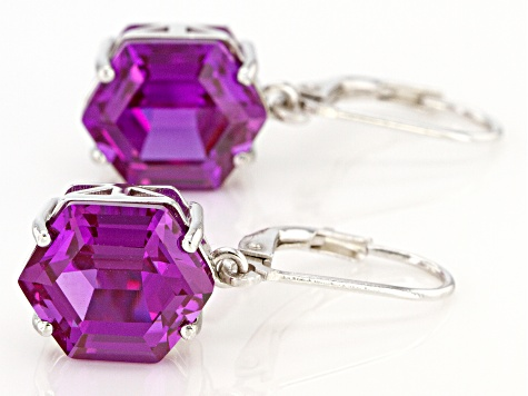 Purple Lab Created Color Change Sapphire Rhodium Over Silver Earrings 9.91ctw