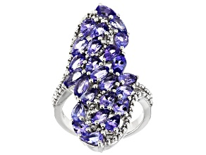Blue Tanzanite Rhodium Over Silver Ring 4.34ctw