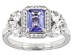Blue Tanzanite Rhodium Over Sterling Silver Ring 2.08ctw