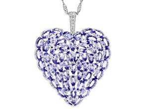 Blue tanzanite rhodium over silver heart pendant with chain 10.72ctw