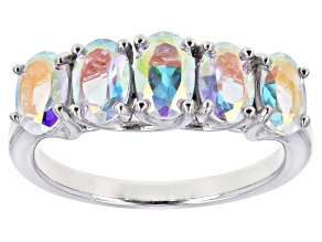 Multicolor Mercury Mist(R) Topaz Rhodium Over Silver Band Ring 2.30ctw