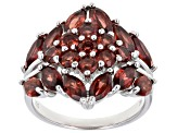 Red Garnet Rhodium Over Sterling Silver Ring 4.55ctw