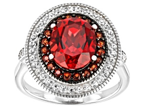 Pink Lab Created Padparadscha Sapphire Rhodium Over Silver Ring 4.04ctw