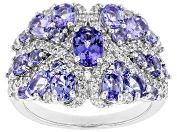 Picture of Blue tanzanite rhodium over sterling silver ring 2.82ctw