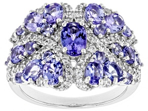 Blue tanzanite rhodium over sterling silver ring 2.82ctw