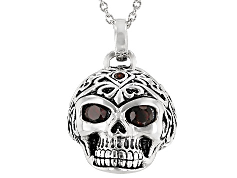 Red Garnet Rhodium Over Silver Mens Skull Pendant With Chain .57ctw