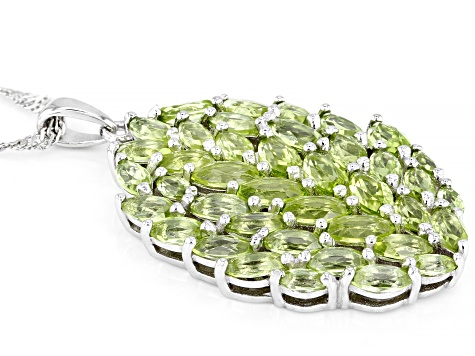 Green Peridot Rhodium Over Silver Pendant With Chain 4.48ctw