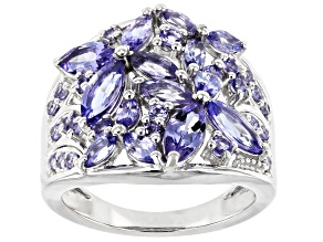 Blue Tanzanite Rhodium Over Silver Butterfly Ring 2.48ctw