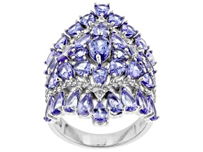 Blue Tanzanite Rhodium Over Silver Ring 6.79ctw