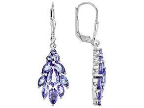 Blue Tanzanite Rhodium Over Silver Earrings 2.93ctw