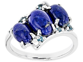 Blue Lapis Lazuli Rhodium Over Silver Ring .15ctw