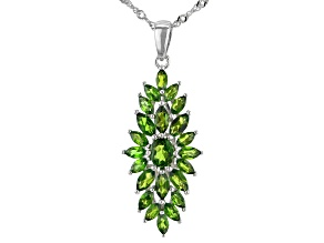 Green Chrome Diopside Rhodium Over Silver Pendant With Chain 2.44ctw