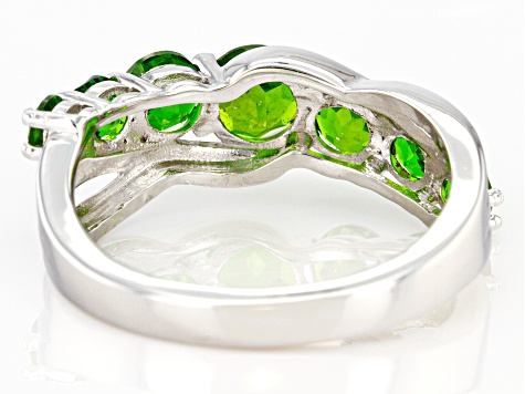 Green Chrome Diopside Rhodium Over Silver Ring 1.49ctw