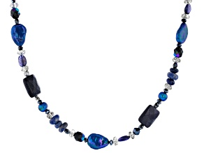 Blue goldstone sterling silver necklace