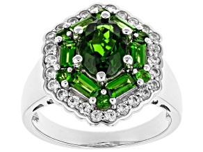 Green Chrome Diopside Rhodium Over Silver Ring 2.41ctw
