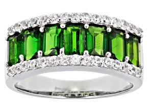 Green Chrome Diopside Rhodium Over Silver Ring 2.44ctw