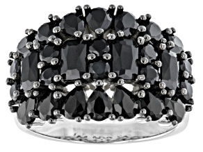 Black Spinel Rhodium Over Sterling Silver Ring 3.70ctw