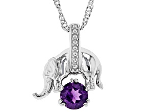 Purple Amethyst Rhodium Over Silver Elephant Slide With Chain .72ct