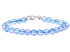 Blue Quartz Bead Strand, Rhodium Over Silver Bracelet