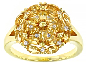 Yellow Citrine 18k Yellow Gold Over Silver Cluster Ring 1.38ctw