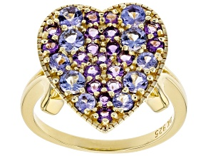 "Blue Tanzanite 18k Gold Over Silver ""Heart"" Ring 1.47ctw"